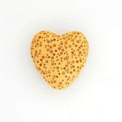 Полускъпоценни камъни - охра мънисто сърце от вулканична лава 20х20мм (4бр)