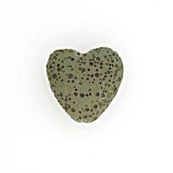 Полускъпоценни камъни - чаенозелено мънисто сърце от вулканична лава 20х20мм (4бр)