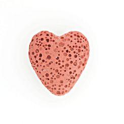 Полускъпоценни камъни - папая мънисто сърце от вулканична лава 20х20мм (4бр)