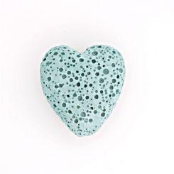 Полускъпоценни камъни - тюркоазеносиньо мънисто сърце от вулканична лава 20х20мм (4бр)