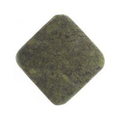 Полускъпоценни камъни - диагонално квадратно мънисто руски серпентин 15х15 мм (4бр)
