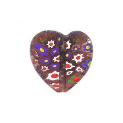 Мораво мънисто сърце с мотив цвете 16мм (4бр)