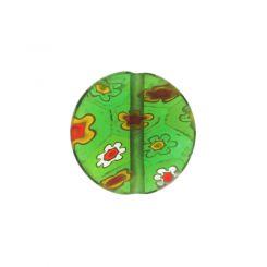 Зелено кръгло мънисто с мотив цвете 12мм (8бр)