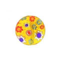 Жълто кръгло мънисто с мотив цвете 14мм (4бр)