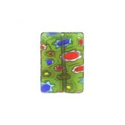 Зелено правоъгълно мънисто с мотив цвете 13х18мм (4бр)