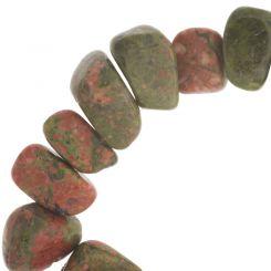 Полускъпоценни камъни - мънисто от унакит 6-10х8х12мм (10см)