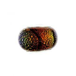 Мънисто Dichroic в оранжево-черно за гривна стил Pandora 9х13мм (1бр)