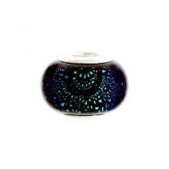 Мънисто Dichroic в сиьозелено-черно за гривна стил Pandora 9х13мм (1бр)