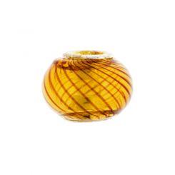 Мънисто Lamp Work карамел с вълни в кафяво за гривна стил Pandora 11х14мм (1бр)