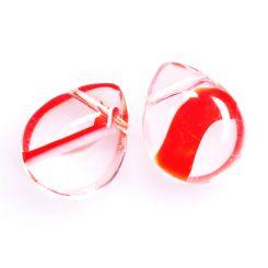 Чешко стъкло - бриолет прозрачен с червени, оранжеви и бели шарки 12х15мм (2бр)
