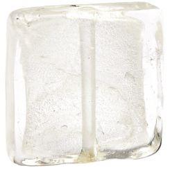Бяло квадратно фолирано  мънисто 20мм (1бр)
