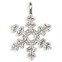 Декоративна метална висулка снежинка Бали 21х15х2мм (4бр)