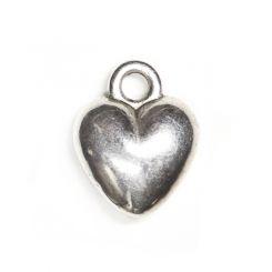 Декоративна метална висулка сърчице Бали 12х10мм (4бр)