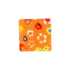 Жълто квадратно мънисто с мотив цвете 10х10мм (10бр)